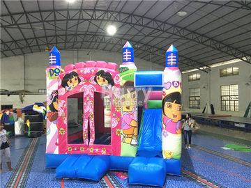 China Rosa Haus-Werbung Prinzessin-Large Dora Inflatable Bounce mit Digital-Drucken fournisseur