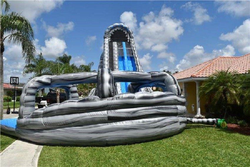 Kundengebundenes Garten-Doppelweg-aufblasbares Wasserrutsche-Pool ...