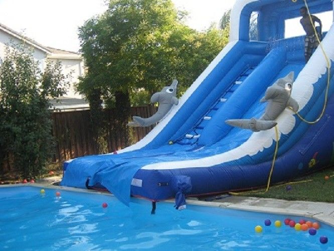 Spielen sie aufblasbare wasserrutsche f r kinder delphin aufblasbare pool wasserrutsche - Wasserrutsche fur pool ...